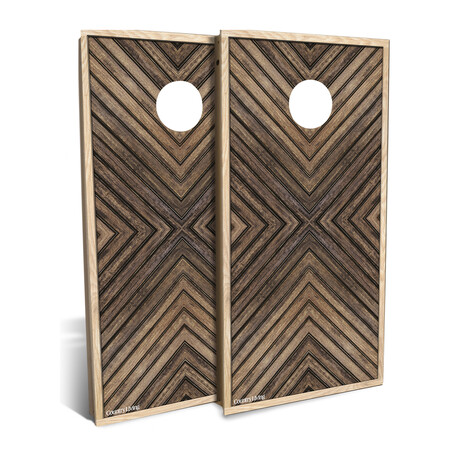 Country Living Dark-Stained Geometric Wood // Cornhole Board Set