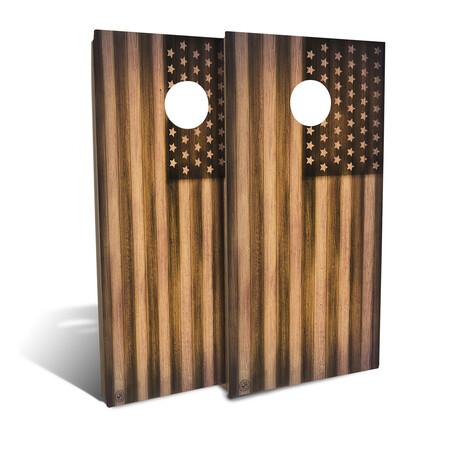Burnt Wood + American Flag // Cornhole Board Set