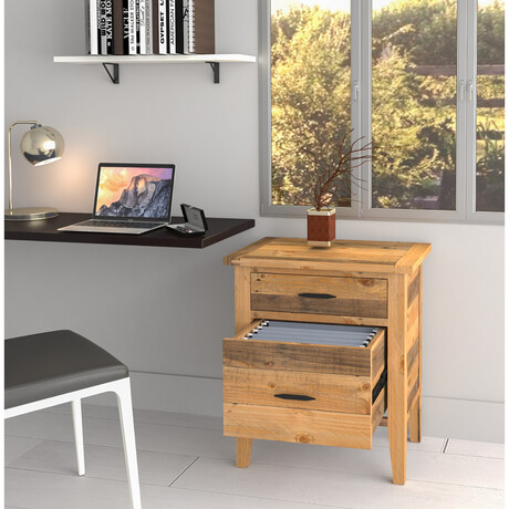 """Ashford // 25"""" Reclaimed Wood Filing Cabinet With Two Drawers"""