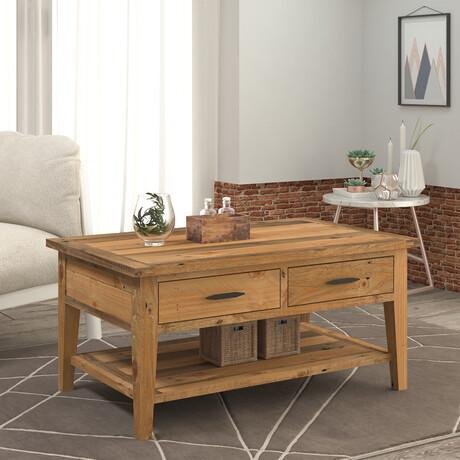 "Ashford // 40"" Reclaimed Wood Coffee Table With Storage Shelf + Two Drawers"