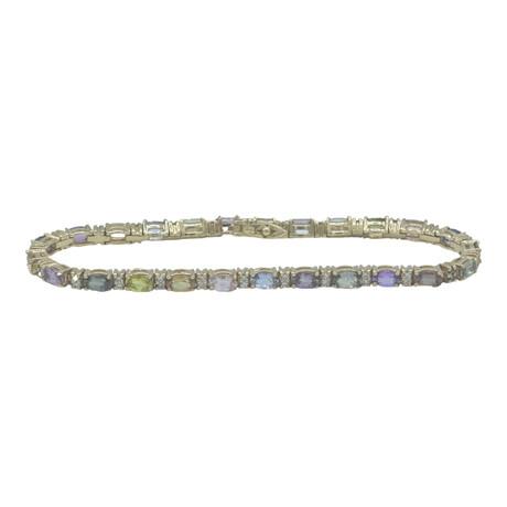 "14k Yellow Gold Diamond + Sapphire Bracelet // 7.5"" // Pre-Owned"