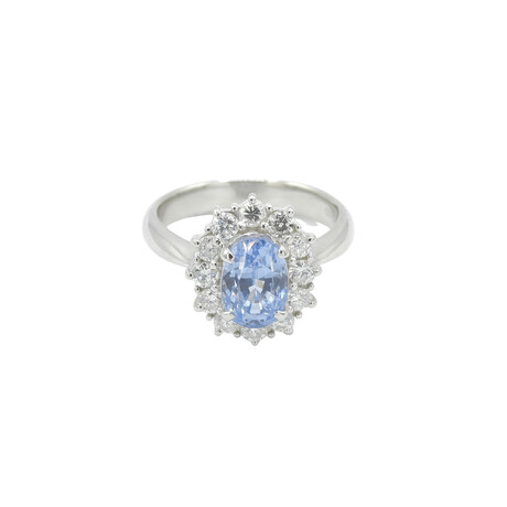 Platinum Diamond + Sapphire Oval Ring // Ring Size: 7.5 // Pre-Owned