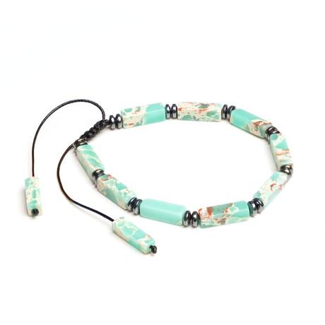 Dell Arte // Shambala + Stone Adjustable Bead Bracelet // Aqua