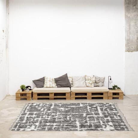 """Grammercy Urban // Cream + Dark Gray Shag (3'11"""" x 5'11"""")"""