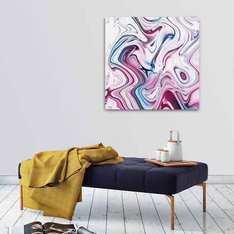 """Liquid Marble // Pink And Blue (12""""H x 12""""W x 0.75""""D)"""