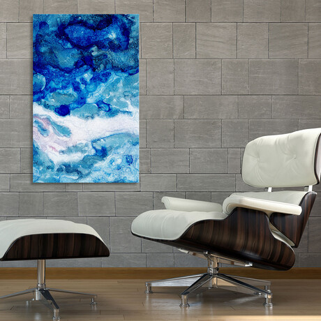 """Blue Abstract Waves (12""""H x 8""""W x 0.75""""D)"""