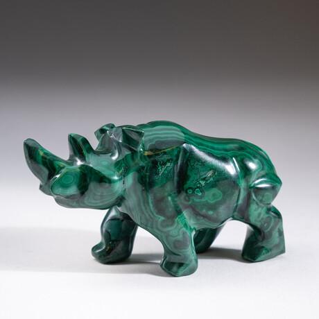 Genuine Polished Hand Carved Malachite Rhino
