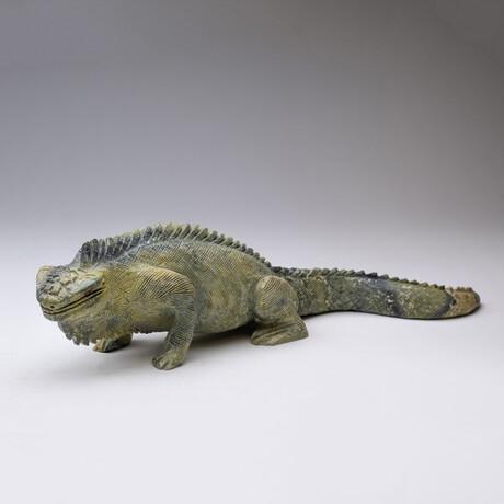 Genuine Natural Serpentine Carved Iguana