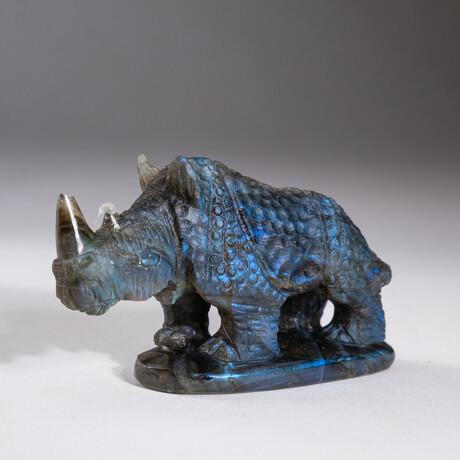 Genuine Natural Labradorite Hand Carved Rhino