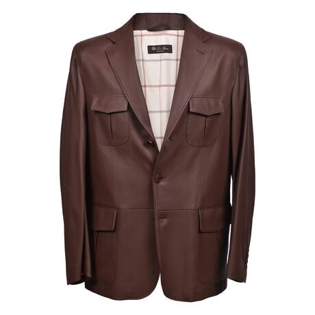 Tyler Deer Leather Blazer // Brown (XS)