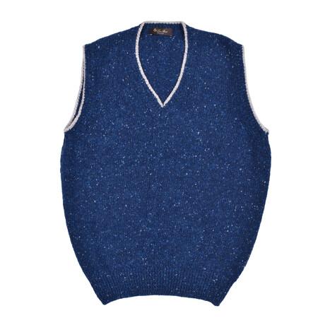 Knit Cashmere Cardigan // Blue + Multicolor (Euro: 46)
