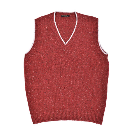 Hand Knit Cashmere Sweater // Red + Multicolor // V1 (Euro: 46)