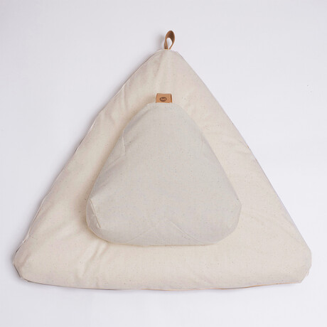 Organic Meditation Cushion Set // Floor + Support Pillows // Natural Canvas