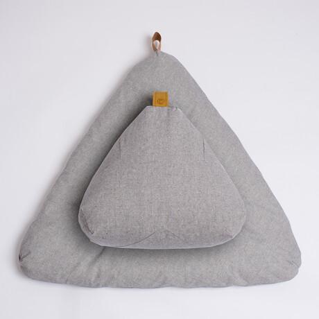 Organic Meditation Cushion Set // Floor + Support Pillows // Slate Gray