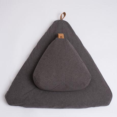 Organic Meditation Cushion Set // Floor + Support Pillows // Charcoal