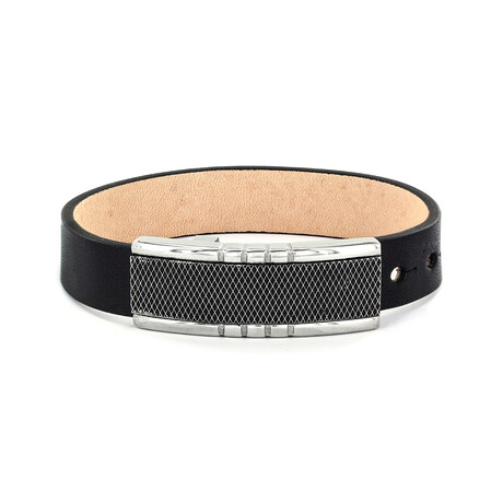 Crucible Black Leather and Criss Cross Buckle Bracelet // Black + Silver