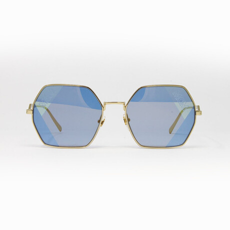MCM // Unisex Sunglasses // Gold Blue + Blue Gold Mirror
