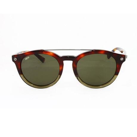 MCM // Unisex Round Sunglasses // Military Havana + Green