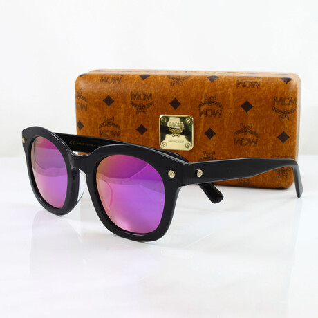 MCM // Unisex Oversized Sunglasses // Black + Green Violet Flash