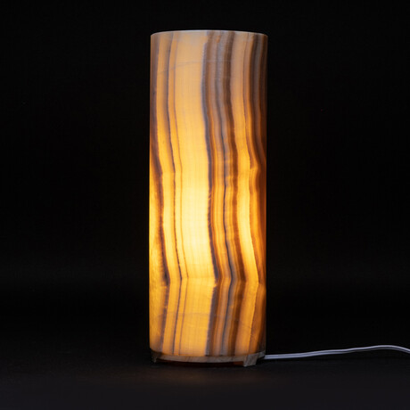 Genuine Natural Round Banded Onyx Lamp