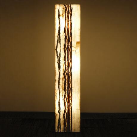 Genuine Square White Banded Onyx Floor Lamp