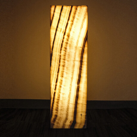Genuine Square Orange Banded Onyx Floor Lamp // V3