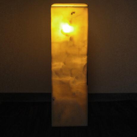 Genuine Square Orange Banded Onyx Floor Lamp // V4