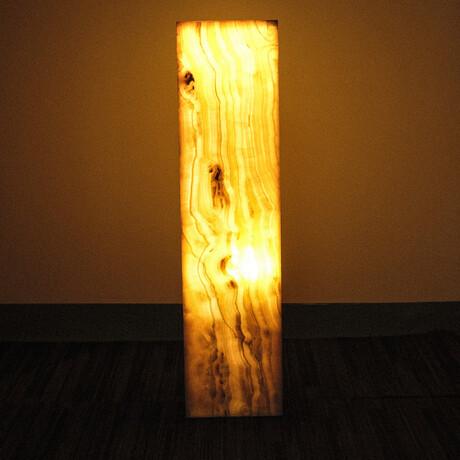 Genuine Square Orange Banded Onyx Floor Lamp // V2
