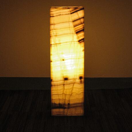 Genuine Square Orange Banded Onyx Floor Lamp // V1