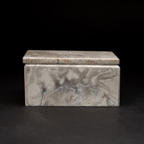 Genuine Rectangular Marbleized Onyx Jewelry Box