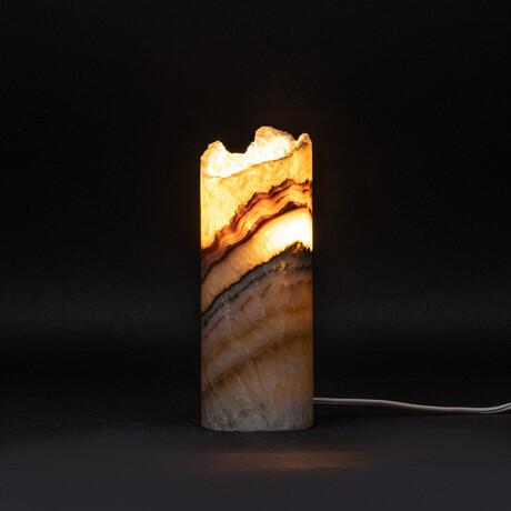 Genuine Natural Rainbow Banded Onyx Desk Lamp // V1
