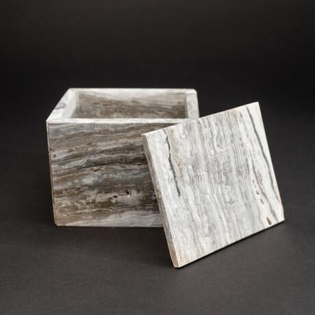 Genuine Square Banded Onyx Jewelry Box