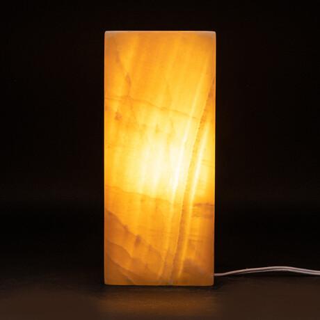 Genuine Natural Square Orange Onyx Lamp