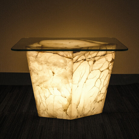 Genuine Polished Large Illuminated Onyx End Table + Glass Top // V3