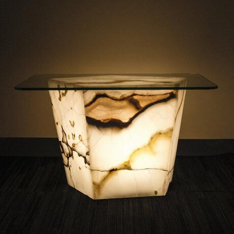 Genuine Polished Large Illuminated Onyx End Table + Glass Top // V1