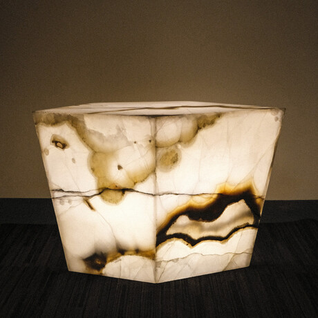 Genuine Polished Large Illuminated Onyx Pedestal Coffee Table