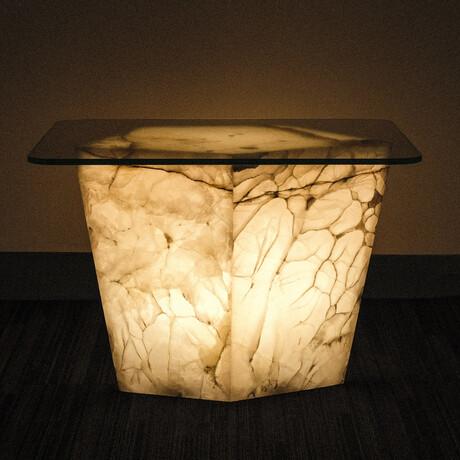 Genuine Polished Large Illuminated Onyx End Table + Glass Top // V4