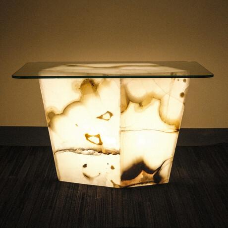 Genuine Polished Large Illuminated Onyx End Table + Glass Top // V2