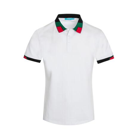 White Contrast Collar Polo Shirt (S)