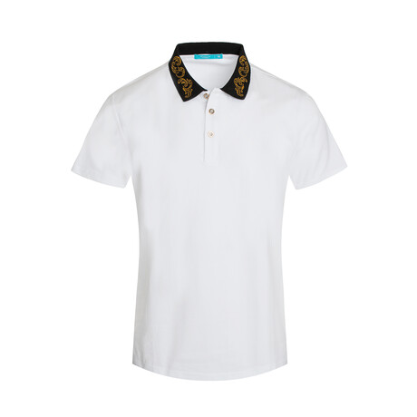 White Polo Shirt // Embroidered Collar (S)