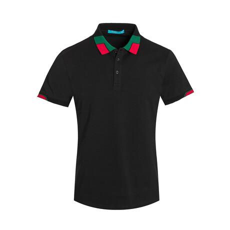 Black Contrast Collar Polo Shirt (S)