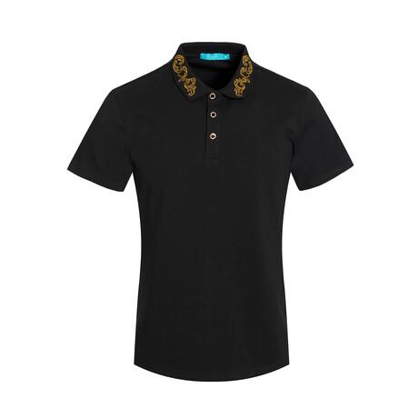 Black Polo Shirt // Embroidered Collar (S)