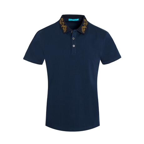 Navy Polo Shirt // Embroidered Collar (S)