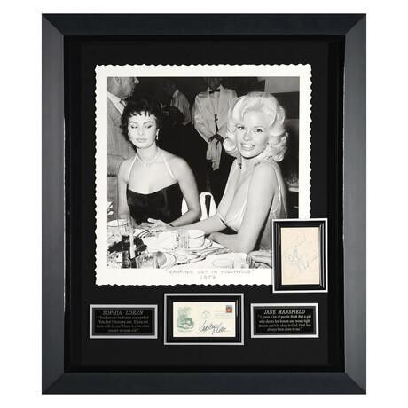 Sophia Loren + Jayne Mansfield // Hanging Out In Hollywood // Autographed Display