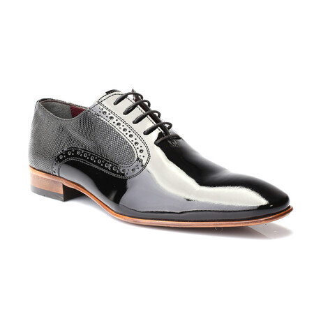 Scale Embossed Patent Brogue Oxford // Black (Euro: 39)