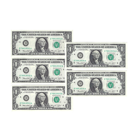 1974 $1 U.S. Federal Reserve Notes // Set of 5 Sequential Serial Numbers // Choice Crisp Uncirculated