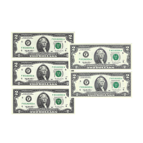1995 $2 U.S. Federal Reserve Notes // Set of 5 Sequential Serial Numbers // Choice Crisp Uncirculated