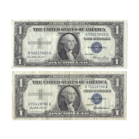 1935 & 1957 $1 U.S. Silver Certificates // Set of 2 // Blue Seal // Lightly Circulated