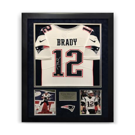 Tom Brady // New England Patriots // Signed White Jersey + Framed