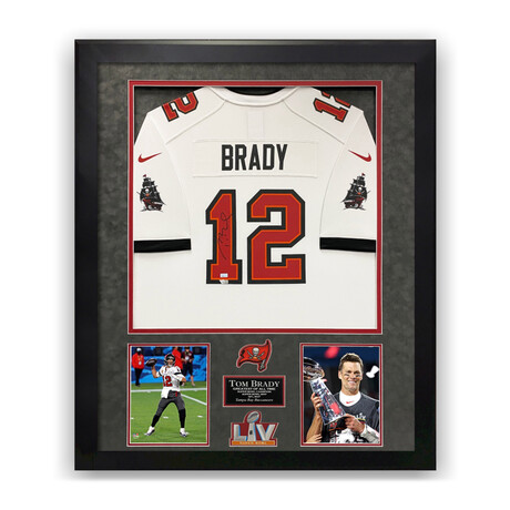Tom Brady // Tampa Bay Buccaneers // Signed White Jersey + Framed